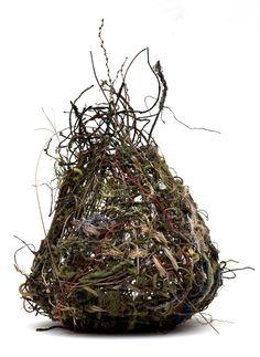 """Nest"", by Ellen Solari, random weave basket, hand-dyed yarn and hemp… Willow Weaving, Basket Weaving, Rope Basket, Art Environnemental, Contemporary Baskets, Honeysuckle Vine, Weaving Art, Arte Floral, Natural Materials"