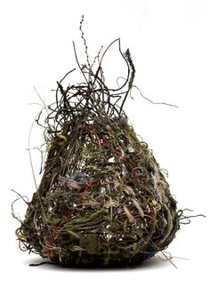 """""""Nest"""", 2013, random weave basket, hand-dyed yarn and hemp, wire, hand-wrapped yarn covered wire, bark covered wire, found materials."""