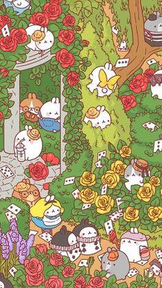 Molang - Alice in Wonderland Cute Wallpaper Backgrounds, Cute Cartoon Wallpapers, Wallpaper Iphone Cute, Wallpaper Quotes, Kawaii Drawings, Cute Drawings, Wallpaper Fofos, Kawaii Background, Molang
