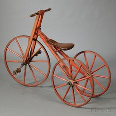 Red-painted Wooden and Iron Tricycle Old Bicycle, Old Bikes, Antique Toys, Vintage Toys, Bicycle Pictures, Velo Design, Motorcycle Battery, Antique Bicycles, Red Paint