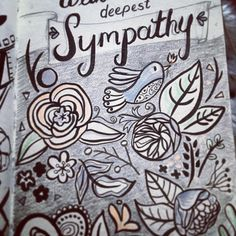 Working on a new collection of cards for a card company. This is one of the harder sentiments I need to include  #surfacedesign #carddesign #stationery #flowersofinstagram #100daysofink #withsympathy