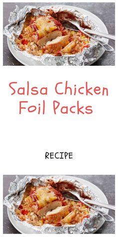 Salsa Chicken Foil Packs Recipe Salsa chicken leaf packet recipe of chicken salsa Foil Pack Dinners Tin Foil Dinners, Foil Packet Dinners, Foil Pack Meals, Turkey Recipes, Mexican Food Recipes, Drink Recipes, Dinner Recipes, Salsa Chicken, Chicken Sauce