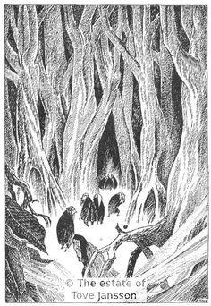 Tove Jansson's illustrations to J. R. R. Tolkien: Bilbo – en hobbits äventyr, Rabén & Sjögren, 1962, p. 148 - In Mirkwood