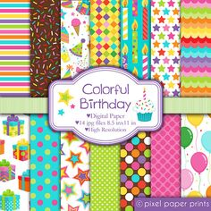 Clip art images by Pixel Paper Prints. Buy 3 get 1 free by pixelpaperprints Papel Scrapbook, Scrapbook Stickers, Colorful Birthday, Photoshop Elements, Project Yourself, Print And Cut, Digital Scrapbooking, Digital Papers, Patch