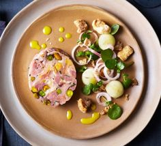 Contains pork – recipe is for non-Muslims onlyIf you& looking for a Christmas classic with a twist, this French ham hock and pistachio terrine, transformed into a modern make-ahead starter is for you Ham Hock Terrine, Pork Recipes, Cooking Recipes, Parsnip Recipes, Chunky Vegetable Soup, Christmas Ham, Christmas Things, Christmas 2017, Christmas Ideas