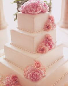 Weddingchannel Galleries Square White Cake With Pink Flowers