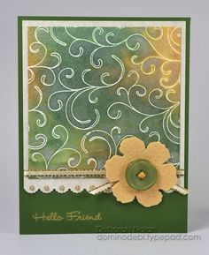 By Deborah Nolan. Distressed inks on watercolor paper. Design stamped with Versamark and embossed in white and gold.