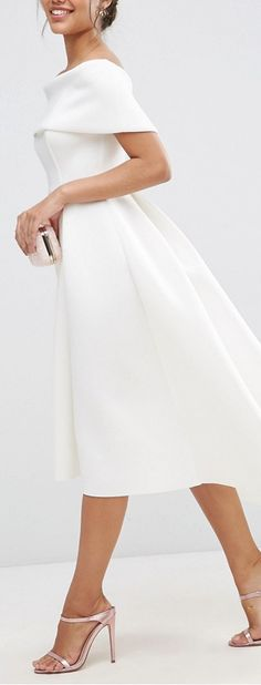 bardot midi dress More I love the tailored look of this dress. Modest Wedding Dresses, Trendy Dresses, Elegant Dresses, Beautiful Dresses, Nice Dresses, Casual Dresses, Short Dresses, Formal Dresses, Dress Wedding