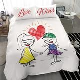 Duvet Set - LGBT - Love Wins Girls – Valued Action Lgbt Love, Duvet Sets, Pillow Inserts, Bed Sheets, Smurfs, Comforters, Action, Cozy, Pillows