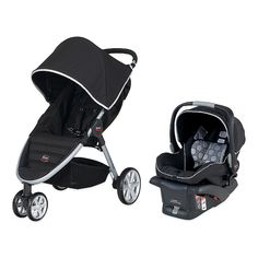 BRITAX B-Agile Travel System in Black.  $419 with carseat 16lb, +9lb carseat, works up to 55lb