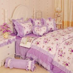 Purple Floral Lace Bowtie Ruffle Bedding For Girls-Girls Lace Bedding