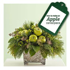 "How to make this fresh, lovely ""apple of your eye"" centerpiece: http://www.midwestliving.com/videos/v/98887819/how-to-create-an-apple-of-your-eye-arrangement.htm"