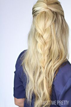 half up, half down braid