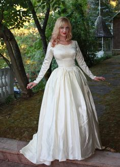 Vintage 1950s Silk Satin Wedding Dress Princess Ball Gown Long Sleeves and Beading Bomshell Fit with Short Train on Etsy, $285.00