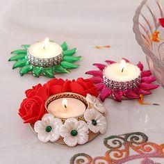 Kundan Tealight Diyas with Rose Diya Diwali Diya, Diwali Craft, Diwali Gifts, Diya Decoration Ideas, Diy Diwali Decorations, Light Decorations, Water Candle, Tea Light Candles, Diya Designs