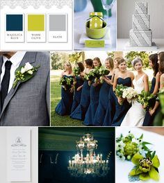 Blue and warm olive spring wedding. Love these colors!