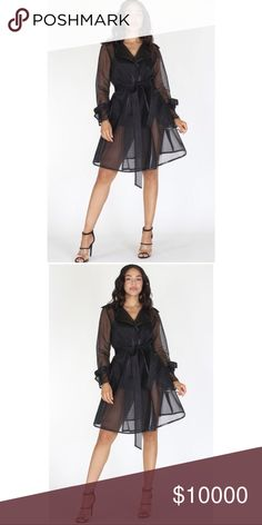 💋JUST IN💋SHEER LONG SLEEVE JACKET IN A LOOSE FIT This see through jacket is a must have for every style setter. Features  •Transparent  •wrapped front, draped neck,  •waist Belt and pockets. Fabric: Polyester Content: 100% POLYESTER Fits true to sizeMeasurements  Length: 36 inches Bust 34 inches  Waist 44 inches Model is wearing a size small Sleeve length from outer edge of the shoulder: 24 inches boutique Jackets & Coats Trench Coats