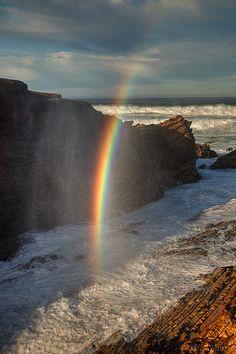 """Rainbow in the Surf"" California Coast USA Rainbow Magic, Rainbow Sky, Love Rainbow, Over The Rainbow, Rainbow Photo, Beautiful World, Beautiful Places, Rainbow Promise, Skier"