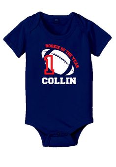 Personalized football rookie of the year baby onesie or t shirt, 1st birthday boy shirt