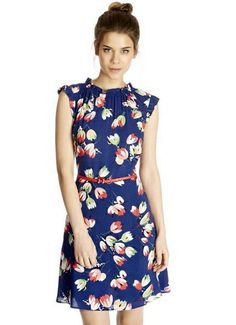blue floral belted dress