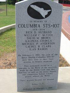 Space Shuttle Columbia Memorial (February 1, 2003) Sabine County, Texas