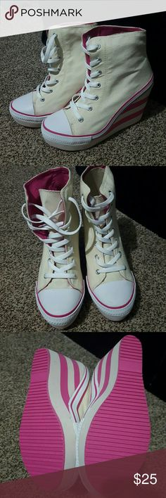 High top wedge shoes Converse style..pink and beige..new/ small stain as shown in last picture/ pink stripes/ never worn/ no box andrea Shoes