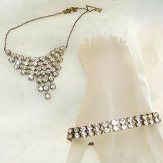 "Art Deco Vintage Rare Czechoslovakian, Czech, Rhinestone Bracelet, Necklace Set.  See me at the ""Vintage Jewelry Stars"" shop at http://www.rubylane.com/shop/vintagejewelrystars!!"