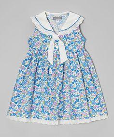 Look at this #zulilyfind! Blue Floral Tie-Collar Dress - Infant, Toddler & Girls #zulilyfinds