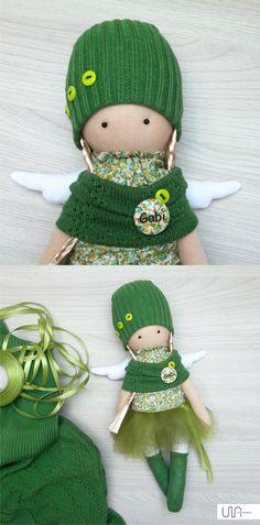 Angel green doll girl