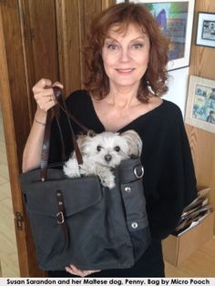 Susan Sarandon with her Maltese dog, Penny Lane. - Dog bag / pet carrier by Micro Pooch.