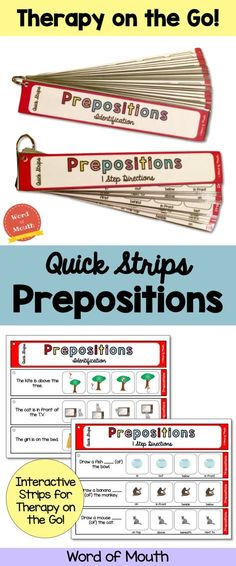 Quick Strips Prepositions is the perfect interactive grab and go tool for prepositions!
