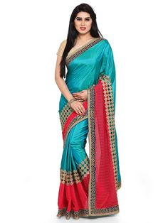 eeea3625dc487 Womanista Georgette Saree with Blouse Piece (FS09238A Teal and Pink One  Size)  Amazon.in  Clothing   Accessories