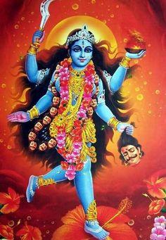 Shree Mahakali Mataji Darshan From Pavagadh Temple. Indian Goddess Kali, Goddess Art, Durga Goddess, Indian Gods, Durga Maa, Bal Hanuman, Indian Art, Kali Mata, Mother Kali