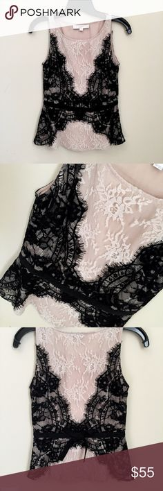 LOFT Black + Nude Lace Peplum Blouse Only worn once, perfect condition! Slight peplum silhouette with black ribbon bow. 00P fits like  regular XXS LOFT Tops Blouses