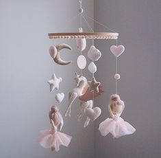 Excited to share this item from my shop: Ballerina mobile - Ballet mobile - Unicorn - baby mobile girl - hanging mobile - nursery mobile - mobile bebe - pegasus mobile Ballerina Nursery, Girl Nursery, Girl Room, Chic Nursery, Baby Ballerina, Baby Mädchen Mobile, Mobile Mobile, Baby Mobiles, Baby Room Decor