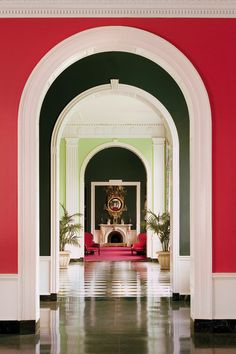 The Greenbrier- View through arches of the Victorian Writing Room