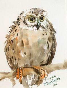 Watercolor Landcolor Skycolor — Babe Owl, original watercolor painting, 12 X 9 in,...