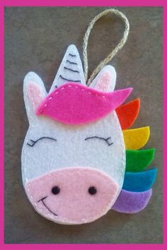Easy Felt Fabric Crafts To Do With Kids - Unicorn crafts - fun and easy DIY unicorn craft projects for kids and for unicorn birthday parties - felt crafts for kids crafts for preschoolers, Unicorn Crafts for Kids - Cute & Easy DIY Unicorn Craft Ideas Unicorn Christmas Ornament, Unicorn Ornaments, Christmas Ornament Crafts, Felt Ornaments, Christmas Decorations, Mermaid Ornament, Owl Ornament, Felt Decorations, Holiday Crafts