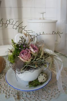 filled with warmth, dried roses and . Teacup Crafts, Kitchen Ornaments, Home Grown Vegetables, Easter 2020, Easter Celebration, Vintage Crafts, Craft Sale, Homemade Gifts, Floral Arrangements