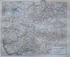 1888 HESSEN-NASSAU alte Landkarte Antique Map Lithographie Deutschland     eBay
