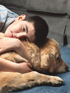 """Service dog, Chancer, helps Iyal Winokur, who has fetal alcohol syndrome. """"Chancer was an emotional and physical anchor for a kid who was pretty lost in the world."""""""