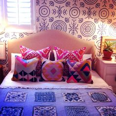 I so envy this fantastic talent - this bold use of color and patterns!  What fun to live in a room like this!                 absolutely beautiful things
