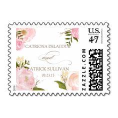 Romantic Watercolor Flowers Wedding Stamp