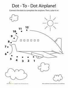 Who says drawing can't be educational? This awesome worksheet increase your child's exposure to numbers, as it teaches him to draw an airplane.
