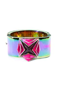 Eddie Borgo Large Lotus Cuff at Moda Operandi, Ionized Brass and Hand-Carved Glass.