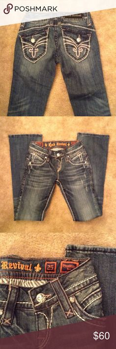Rock Revival Jeans Rock Revival Stephanie Bootcut Jeans with factory fading and distressing. Inseam 32 inches. 98% cotton, 2% elastin. Good condition. Rock Revival Jeans Boot Cut