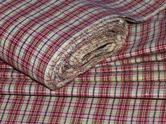 """Antik Leinentuch Mangeltuch selten feine rote blaue Web-Streifen /"""" Mangle cloth"""