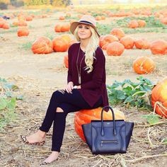 Pumpkin patch ootd | burgundy top | Celine | leopard flats
