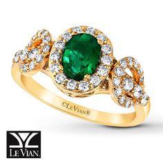 Jared - Le Vian Emerald Ring 5/8 ct tw Diamonds 14K Honey Gold