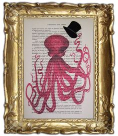 Gentleman octopus ORIGINAL ARTWORK Hand Painted by Cocodeparis, $10.00